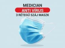 MEDICAN ANTI VIRUS 3 RÉTEGŰ SZÁJMASZK 100db / csomag 199 Ft / db RAKTÁRRÓL