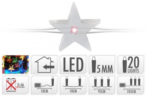 ByHome Xmas Light 20 LEDes ELEMES CSILLAG égősor MULTI