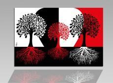 Digital Art vászonkép | 1210-S Rosso Alberi Neri ONE