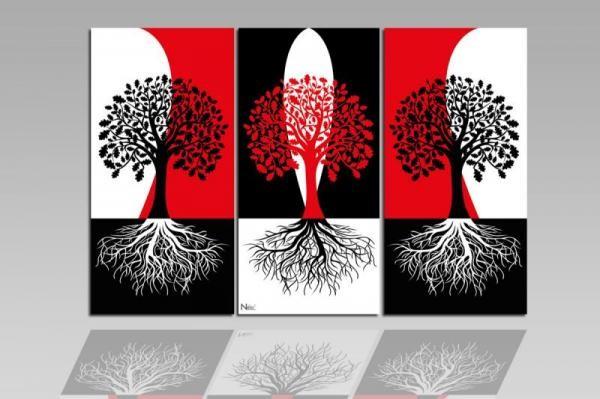 Digital Art vászonkép | 1210-S Rosso Alberi Neri Three