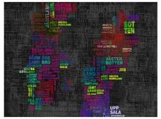 Fotótapéta - Colorful text map of Sweden