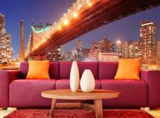 Fotótapéta - Fiery Brooklyn Bridge