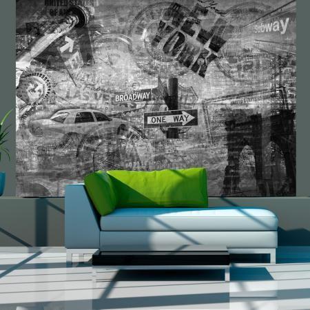 Fotótapéta - New York, black and white, collage