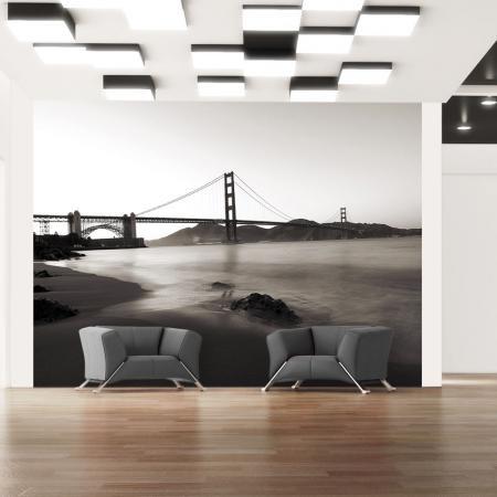 Fotótapéta - San Francisco: Golden Gate Bridge fekete-fehér