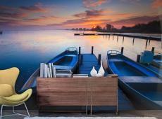 Fotótapéta - Sunset, boats and jetty