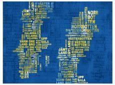 Fotótapéta - Text map of Sweden (yellow color)