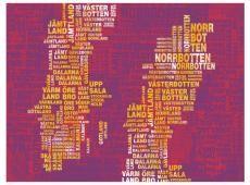 Fotótapéta - Text map of Sweden on pink background