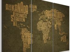 Kép - A térkép a világ, német nyelv: Beige kontinensen - triptych
