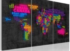 Kép - A térkép a világ - Olaszul egyes országok nevét - triptych