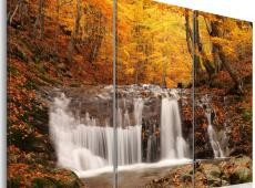 Kép - A waterfall in the middle of fall trees