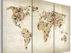 Kép - Beige árnyalatú World - triptych