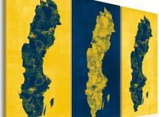 Kép - Festett térkép Svédország - triptych