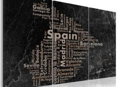 Kép - Map of Spain on the blackboard - triptich