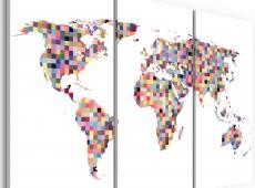 Kép - Map of the World - pixels - triptych