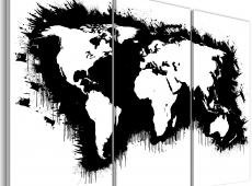 Kép - Monokróm map of the World - triptych