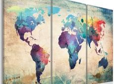 Kép - Rainbow-színű térkép - triptych