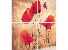 Kép - Retro style, poppies and butterfly