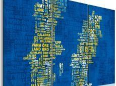 Kép - Szöveg megjelenítése Svédország (kék háttér) - triptych