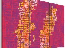 Kép - Szöveg megjelenítése Svédország (rózsaszín háttér) - triptych