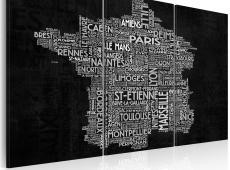 Kép - Text map of France on the black background - triptych