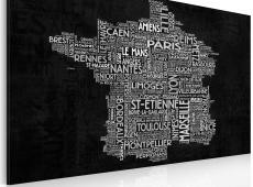 Kép - Text map of France on the blackboard