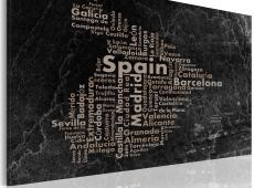 Kép - Text map of Spain on the blackboard