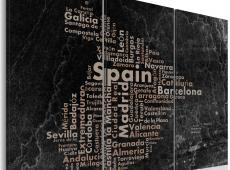 Kép - Text map of Spain on the blackboard - triptych