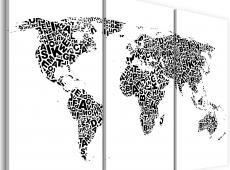 Kép - The World térkép - ábécé - triptych