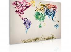 Kép - The World térkép - színes füst nyomvonalak
