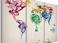 Kép - The World térkép - színes füst nyomvonalak - triptych
