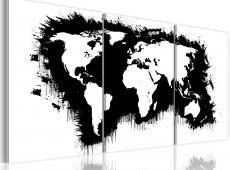 Kép - The World térkép fekete-fehér