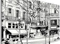 Kép - Vázlat a párizsi tér