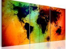 Kép - Világ térkép - színes óceánok