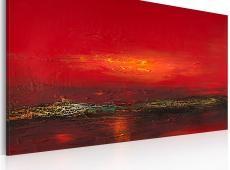 Kézzel festett kép - Vörös naplementét a tengeren