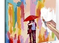 Kifestő - Couple Under An Umbrella (Pink Background)