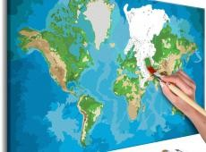 Kifestő - World Map (Blue & Green)