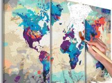 Kifestő - World Map (Blue & Red) 3 Parts