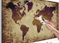 Kifestő - World Map (Brown Colours)