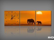 Vászonkép Faliórával Elefantesci H430