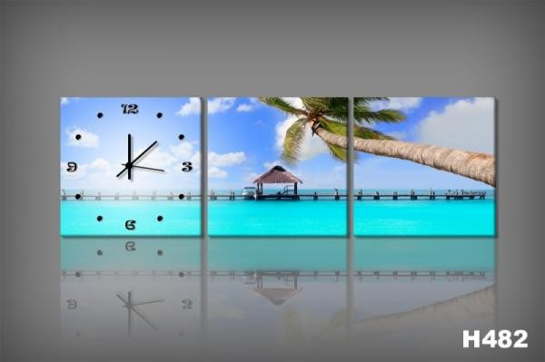 Vászonkép Faliórával H482 Spiaggia Tropicale