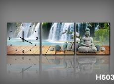 Vászonkép Faliórával H503 falls e buddha