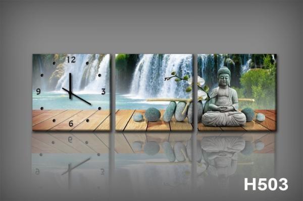 Vászonkép Faliórával H503 KK falls e buddha