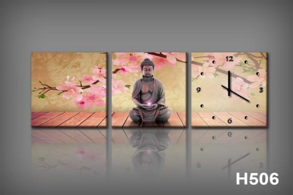 Vászonkép Faliórával H506 Orchidee e Buddha