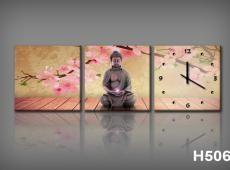 Vászonkép Faliórával H506 Orchidee e Buddha_KK