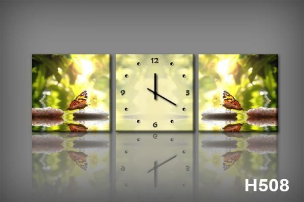 Vászonkép Faliórával H508 la luce e la farfalla