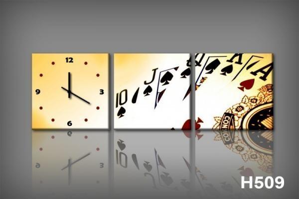 Vászonkép Faliórával H509 poker