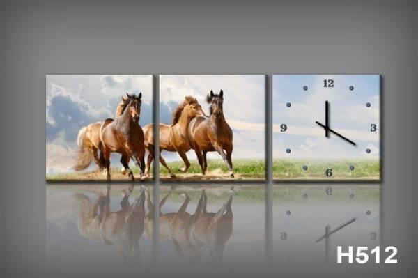 Vászonkép Faliórával H512 cavalli al galoppo