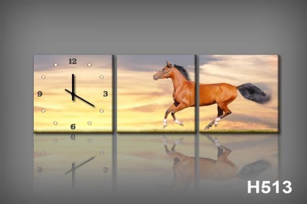 Vászonkép Faliórával H513 il cavallo baia