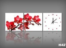 Vászonkép Faliórával Orchidea Rossa H427