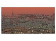XXL Fotótapéta - Afterglow Párizs felett